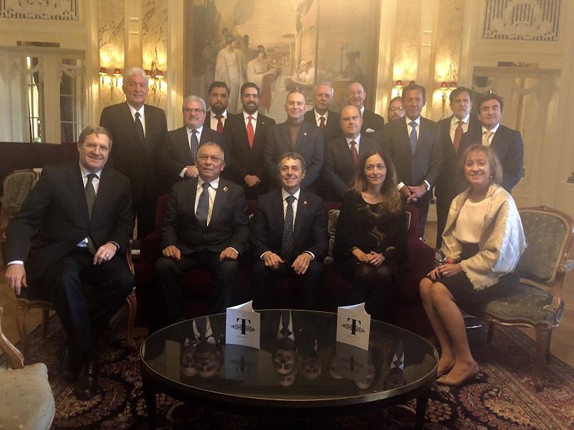 Reunión del Grupo de Embajadores de Latinoamérica y el Caribe (GRULAC) con el Ministro de Relaciones Exteriores, Consejo Federal Ignazio Cassis.(DFAE), Bénédict de Cerjat Embajador y Jefe de la División de Américas (DFAE), Patrizia Palmeiro Knecht colaboradora Personal del Consejo Federal.