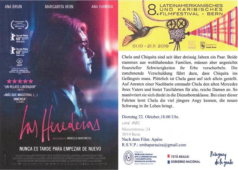 """La Embajada de la República del Paraguay, tiene el honor de invitar al """"VIII Festival de Cine Latinoamericano y del Caribe en Berna"""". (Entrada Gratuita).Solicitamos la confirmación de su asistencia a: embaparsuiza@gmail.com"""